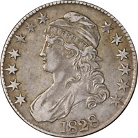 1828 Bust Half Dollar Square Base, Knobbed 2, Large 8's Choice XF 0-108 R.3
