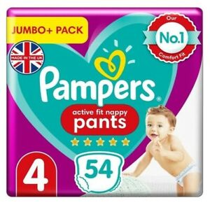 Pampers Active Fit Nappy Pants Size 4 Jumbo+ Pack 54 Pcs.