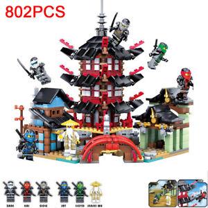 802pcs Ninjago Temple Mini figures for Lego Kai Lloyd Wu Building Blocks Toys