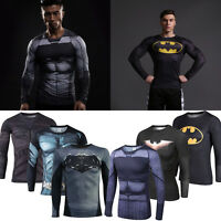 Herren Marvel Superheld Batman Kompression T-Shirt Langarm Kostüm Sports Jersey