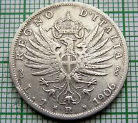 ITALY VITTORIO EMANUELE III 1906 R LIRA, SILVER