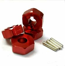 L176R 1/8 Scale Buggy M14 14mm Drive Hex Hub Wheel Adapter Alloy Red x 4 6mm