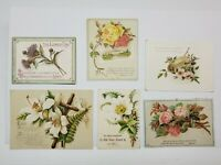 Lot of 6 VTG Prayer Cards Christian Catholic Easter Lilies Flowers Scriptures