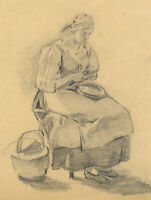 Servant Woman Peeling Potatoes – Original early 20th-century graphite drawing