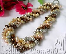 "z296 4strands 19"" coffee pink gray champagne pearl necklace"