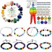 7 Chakra Healing Bracelet Handmade Volcanic Lava Stone Mala Meditation Beads Hot