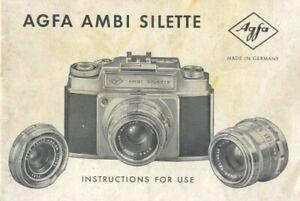 Agfa Ambi Silette Instruction Manual 1957 Original