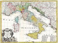 ART PRINT POSTER MAP OLD HOMANN HEIRS ITALY MEDITERRANEAN SEA NOFL0685