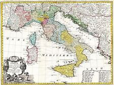 ART PRINT POSTER MAP OLD HOMANN HEIRS ITALY MEDITERRANEAN SEA NOFL0685