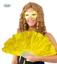 Ventaglio giallo in piume con montatura in plastica