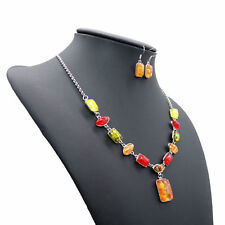 Beautiful New Fashion Statement Bib Necklace Earrings Set Amber Gemstones