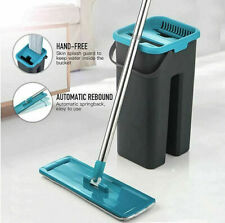 Flat Squeeze Mop and Bucket Hand Free Wringing Floor Cleaning Mop Microfiber Mop