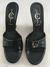 Casadei Black Patent Platform Wedge Veto Cuoio Women's 9 Made In Italy