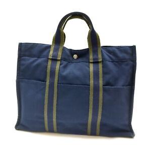 Hermes Tote Bag Fourre Tout Navy Blue Canvas 1727114