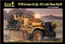 Caesar Miniatures 1/72 7208 WWII German Sd.Kfz.10/4 w/Flak 30 Half-Track Vehicle
