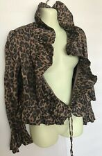 🐆Hansen And Gretel Wraparound Bolero Jacket Size 2 Silk Cheetah Leopard 🐆