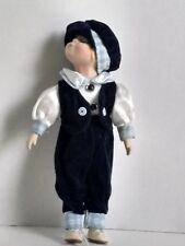 "Kissing  Position Dutch Boy Doll Blond Hair Blue Velour Folk Outfit 15"" T"