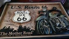 Vintage route 66 hand carved picture