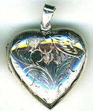 925 Sterling Silver Locket Heart Extra Large Engraved Hallmarked Pendant L1.3/4""