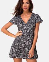Elara Dress in Ditsy Rose Black by Motel Size S