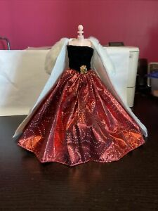 barbie clothes  custom handmade new  red  dress ball gown   with coat