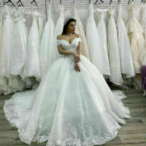 White Ivory Off Shoulder Wedding Dresses Ball Bridal Gowns Appliques Lace Custom