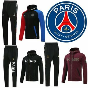 20-21 PSG Football Sportswear Hoodie Adults Soccer Training Suits Jacket + Pants
