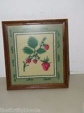 Vintage Framed Needlepoint Finished Strawberry 17378
