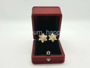 LARGE ROSITAS 14K YELLOW GOLD AND DIAMONDS STUD EARRINGS - AUTHENTIC