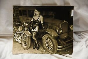 8x10 inch sepia photo of a lingerie babe on barn fresh car and old Harley!