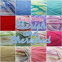 King Cole Cherish/ Cherished Soft Baby Double Knit Knitting Wool Yarn 100g Ball