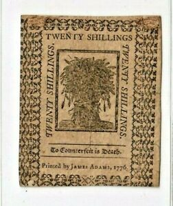 """20 SHILLINGS """"OLD COLONIAL"""" 1776 (CRISPY NOTE) 20 SHILLINGS  BEAUTIFUL!!!!  WOW!"""