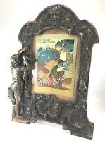 """Cast Metal Picture Frame Copper Finish Art Nouveau North Wind Face 16.5"""""""