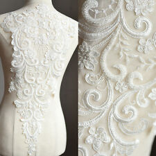 Ivory Floral Beaded Sequined Lace Applique For Wedding Bodice Grown Bridal Veil