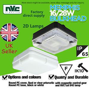 NVC 2D IP65 16/28W Square Bulkhead fluorescent Fitting Polycarbonate Memphis