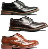 Base London WOBURN Mens Leather Brogue Lace-Up Formal Smart Office HiShine Shoes