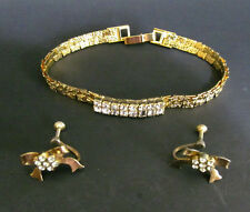 CORO Earrings Bow Screw back and Unmarked Bracelet set Clear rhinestones Costume