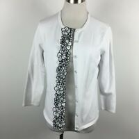 Talbots S Small Cardigan Sweater White Floral Trim 3/4 Sleeve Snap Up  Cotton Bl