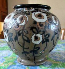Important vase grès de Kéramis à décor de fleurs tombantes D763