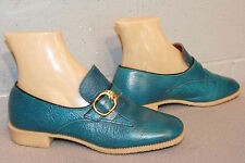 Fits 5-5.5 Vtg 1960s Belted Turquoise Leather Loafer Shoe 60s Jesse Janes sz6