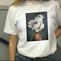 Women Casual T Shirt Summer Sexy Flower Printing Fashion Short Sleeved Top Tees