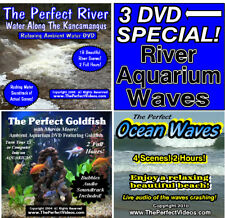 3 DVD SET The Perfect River, Ocean Waves, Goldfish Aquarium Ambient WATER Videos