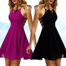 UK Ladies Womens Sleeveless Backless Bandage Skater Evening Cocktail Party Dress
