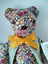 Floral Fabric Hand Made in Usa Cancer Teddy Bear in Sweater
