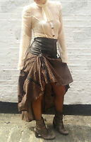 Pinstripe Steampunk Corset Copper Cogs Victorian Vintage Gothic Punk Long Skirt