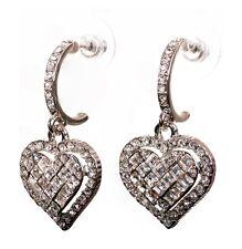 Pierced Earrings Rhodium Authentic 7951a Swarovski Elements Crystal Heart Drop