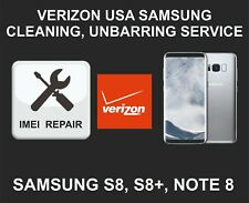 Verizon USA Cleaning, Unbarring Service for Samsung S8, S8 Plus, Note 8