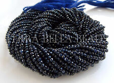 "12.5"" strand AAA deep blue SAPPHIRE faceted gem stone rondelle beads 2mm - 2.5mm"