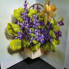 BRAND NEW~STUNNING AFRICAN VIOLETS POP UP GREETING CARD