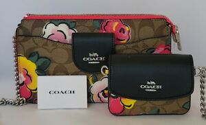 Coach Signature Vintage Rose Poppy Xbody with Card Case Code C5894. NWT $328